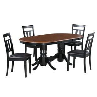 Gannon 5 Piece Extendable Solid Wood Dining Set