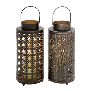 World Menagerie Durable Candle Metal Lantern Set (Set of 2)
