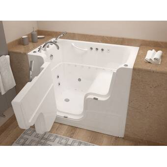 Therapeutic Tubs Aspen 60 X 32 Walk In Air Whirlpool Acrylic Bathtub With Light And Integrated Seat Reviews Wayfair