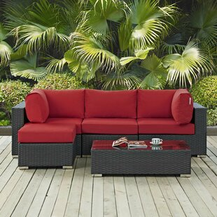Leda 5 Piece Rattan Sunbrella Sectional Seating Group with Cushions