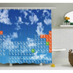 Diara Science Clear Bright Sky With Clouds and Chemistry Table For Kids Smart Student Print Single Shower Curtain