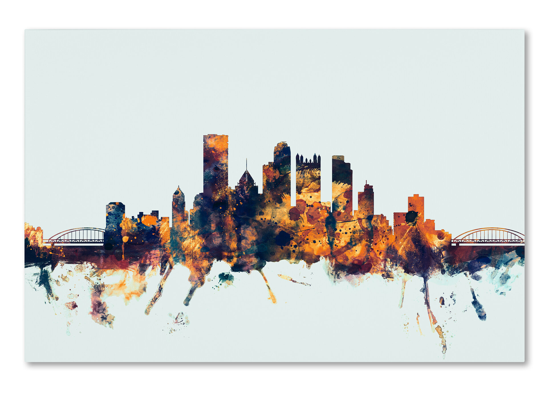 Ivy Bronx Pittsburgh Pa Skyline Blue Graphic Art On Wrapped Canvas Wayfair