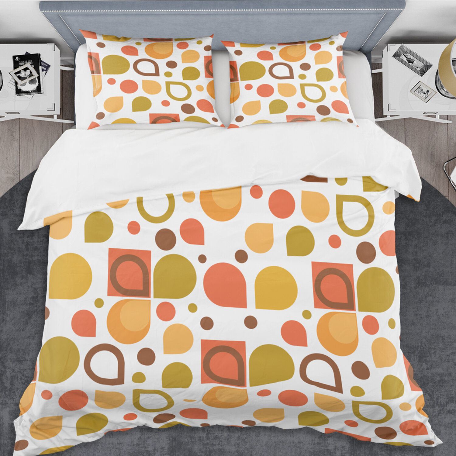 East Urban Home Abstract Retro Geometric I Mid Century Duvet Cover Set Wayfair