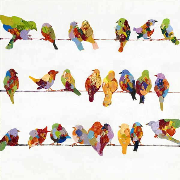 Zipcode Design Birds On A Wire Ii Painting On Wrapped Canvas