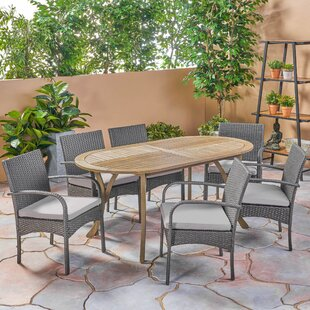 Gracie Oaks Bangor Outdoor 7 Piece Dining Set with Cushions