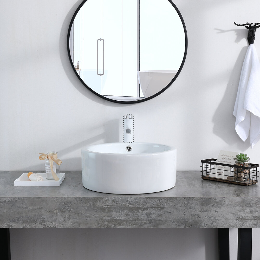 Ktaxon White Ceramic Circular Vessel Bathroom Sink Wayfair