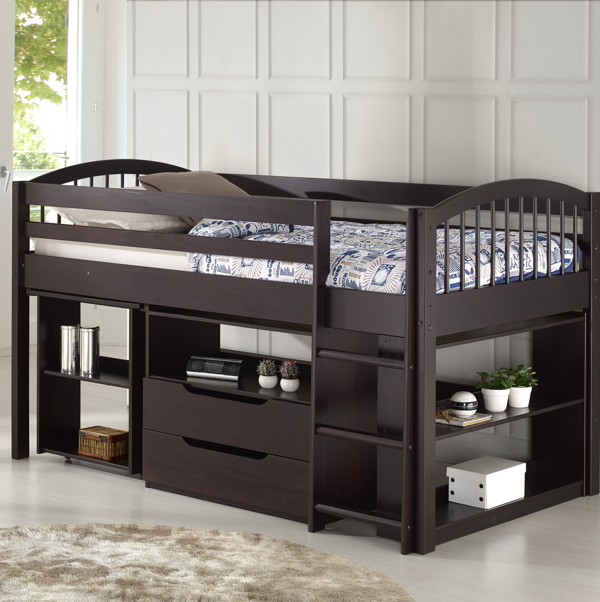 Zoomie Kids Abigail Twin Low Loft Bed With Desk And Storage Reviews