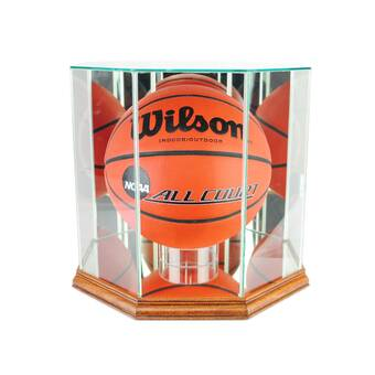 Autographs-original Steiner Display Cases Lovely Utah Jazz Glass Basketball Display Case Logo On Court Background