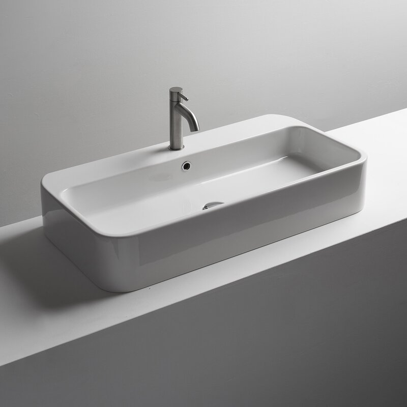 Ws Bath Collections Cosa Ceramic Rectangular Vessel Bathroom Sink With Overflow Wayfair