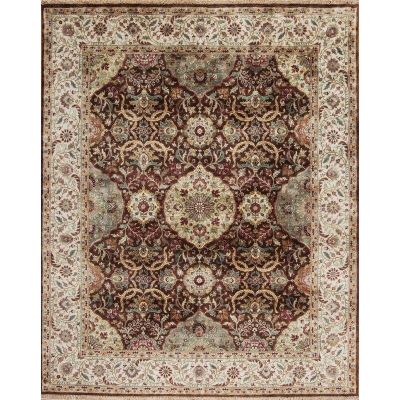 Samad Rugs Silver Screen Oriental Hand Knotted Wool Brown Area Rug Perigold