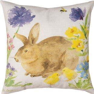 Collins Garden Bunny & Flowers Throw Pillow