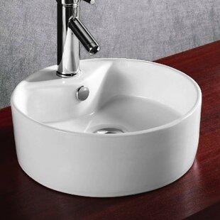 Caracalla Ceramica Ceramic Circular Vessel Bathroom Sink with Overflow