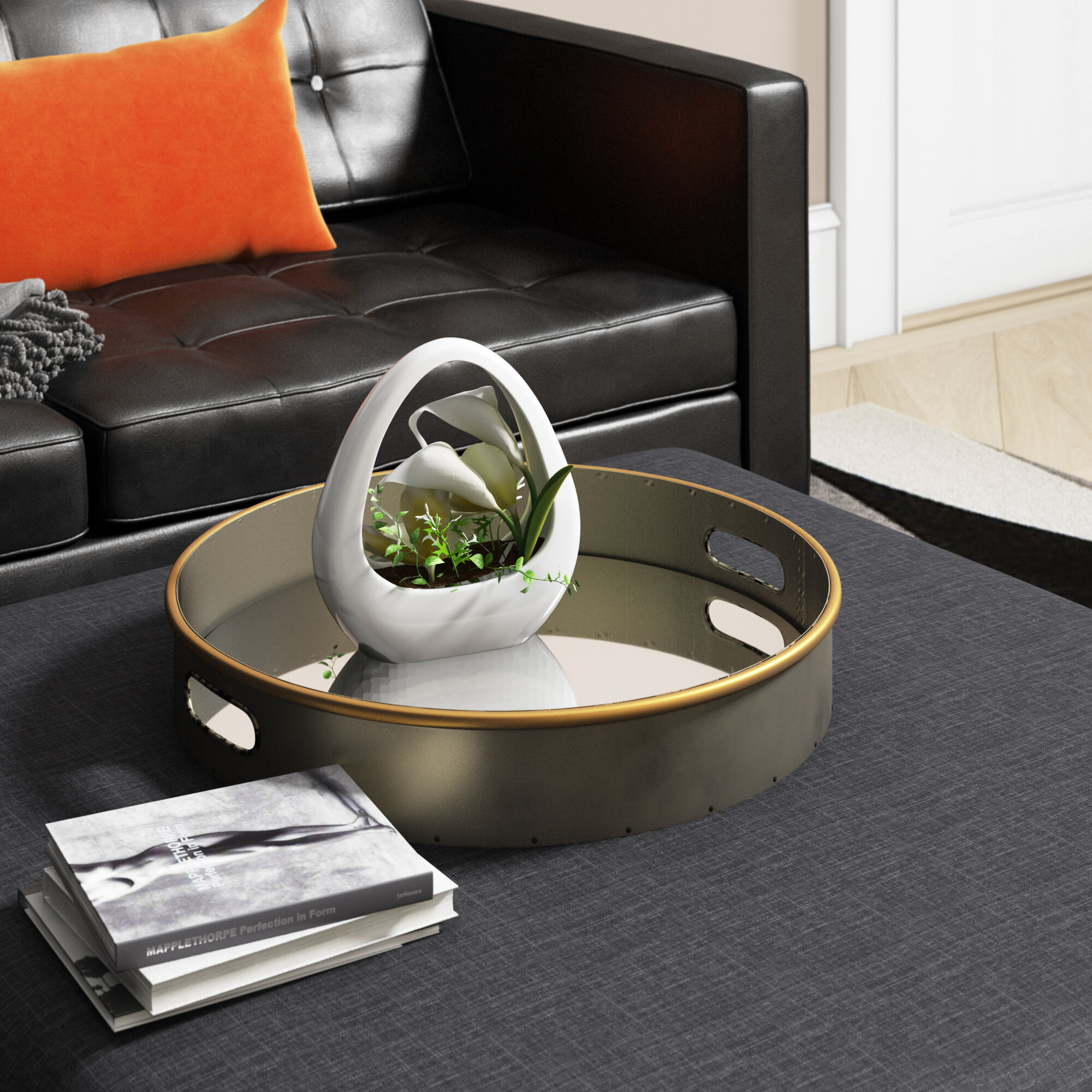 Ottoman Coffee Table Tray.Mclin Mirror Bottom Ottoman Coffee Table Tray