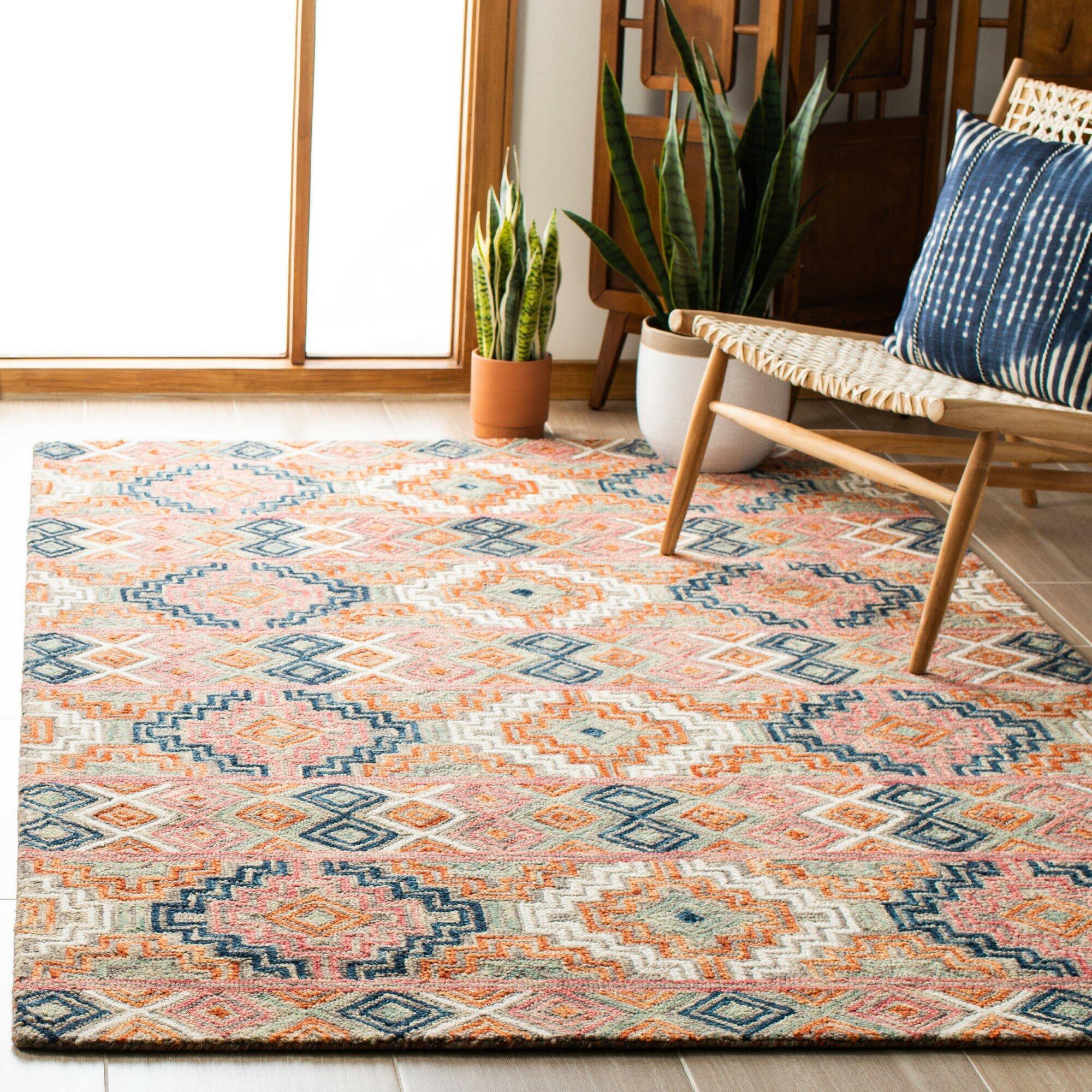 Loon Peak Aldwich Geometric Handmade Tufted Wool Orange Area Rug Wayfair