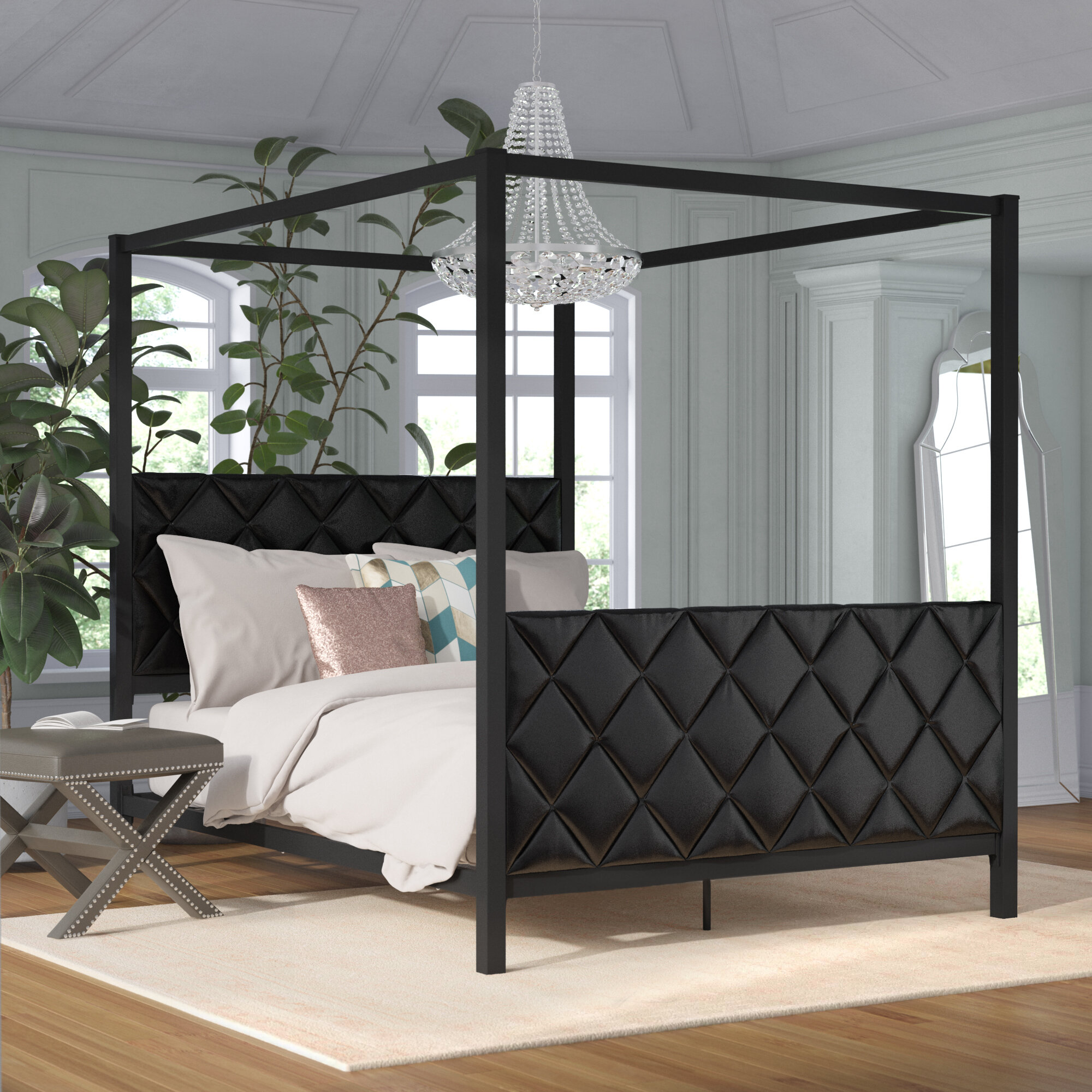 - Willa Arlo Interiors Albritton Queen Upholstered Canopy Bed