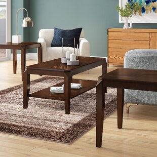 Ebern Designs Salamone Walnut 3 Piece Coffee Table Set
