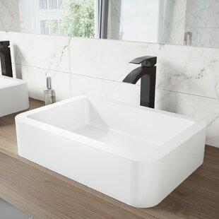 VIGO Matte Stone Rectangular Vessel Bathroom Sink with Faucet VIGO