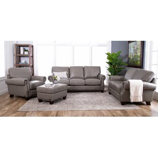 Whipton 4 Piece Leather Living Room Set by Three Posts