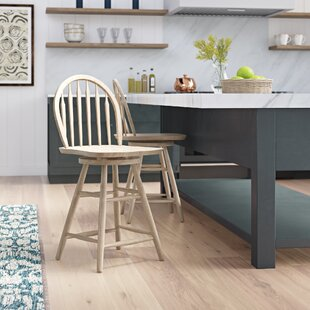 Lynn 24 Swivel Wood Bar Stool Mistana
