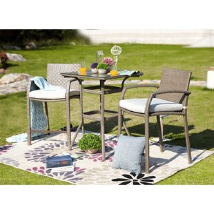 New Braunfels 3-Piece Outdoor Bistro Set with Cushions by Wrought Studio
