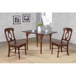 Lockwood 3 Piece Drop Leaf Solid Wood Dining Set