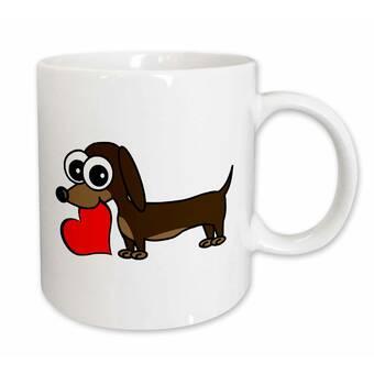 East Urban Home Funny Dachshund Dog Chasing Squirrel Coffee Mug Reviews Wayfair