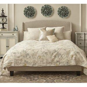 etna shelter back queen upholstered panel bed - Upholstered Queen Bed Frame