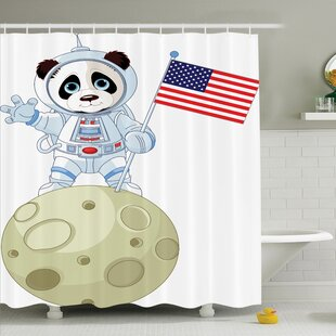 Panda Astronaut Cartoon Shower Curtain Set