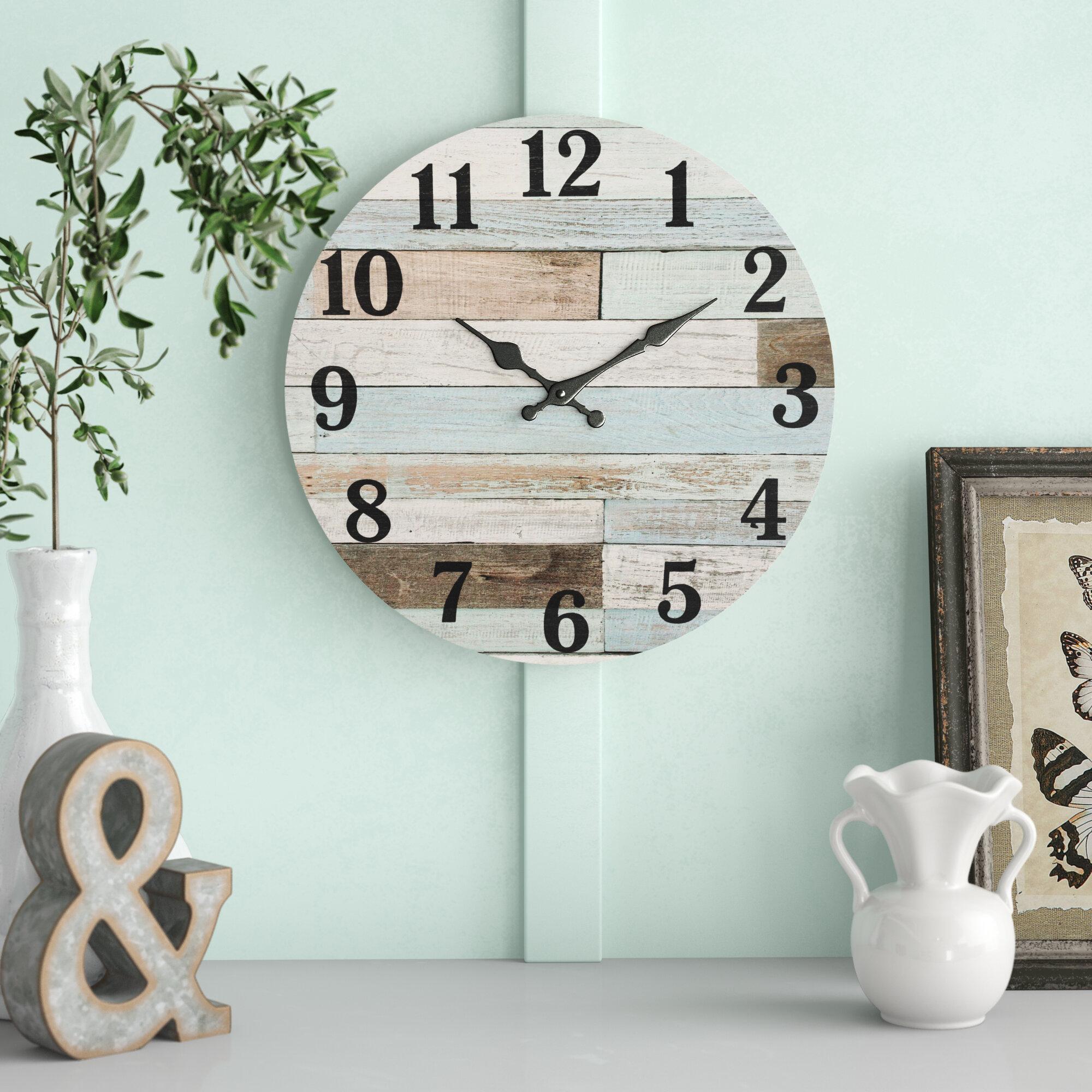 ROUND WOODEN WALL CLOCK VINTAGE RETRO ANTIQUE STYLE HOME MODERN FASHION DECOR
