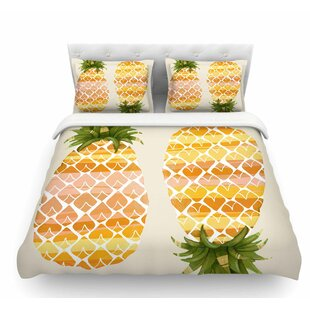 Happy Pineapples by Judith Loske Featherweight Duvet Cover