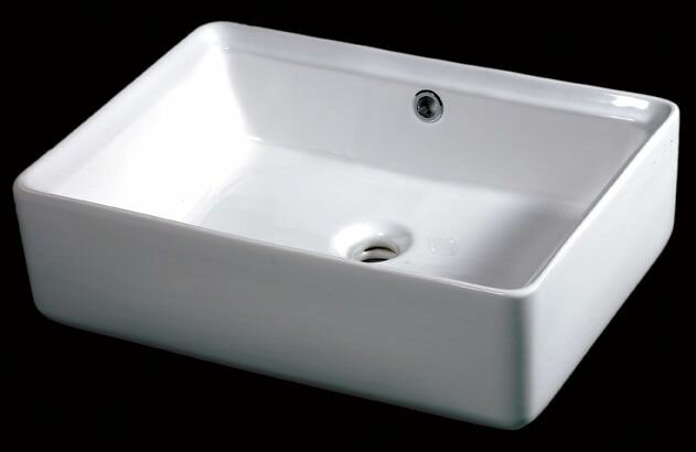 EAGO Ceramic Rectangular Vessel Bathroom Sink with Overflow ...