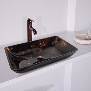 VIGO Fusion Glass Rectangular Vessel Sink Bathroom Sink with Faucet