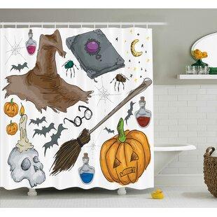 Halloween Decor Pumpkin Skull Shower Curtain by The Holiday Aisle