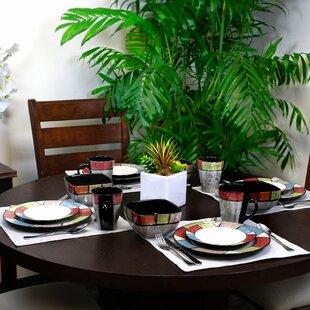 Wickline Country Cottage Stoneware 16 Piece Dinnerware Set, Service for 4