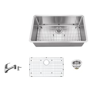 Radius 16 Gauge Stainless Steel 32'' x 19'' Single Bowl Undermount Kitchen Sink with Faucet and Soap Dispenser