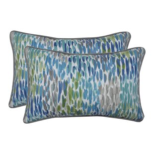 Greaves Make It Rain Cerulean Indoor/Outdoor Lumbar Pillow (Set of 2)