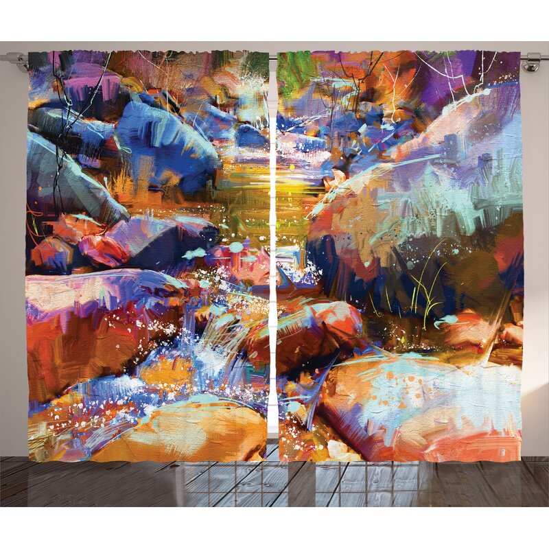 East Urban Home Waterfall With Rock Décor Graphic Print Room Darkening Rod Pocket Curtain Panels