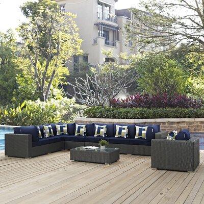 Tripp 7 Piece Sunbrella Sectional Sofa with Cushions Fabric: Navy