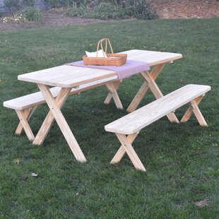 Starkey Pine Cross-leg Picnic Table with 2 Benches