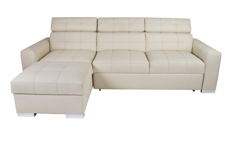 Orren Ellis Amoban 106 Wide Faux Leather Sleeper Corner Sectional Wayfair