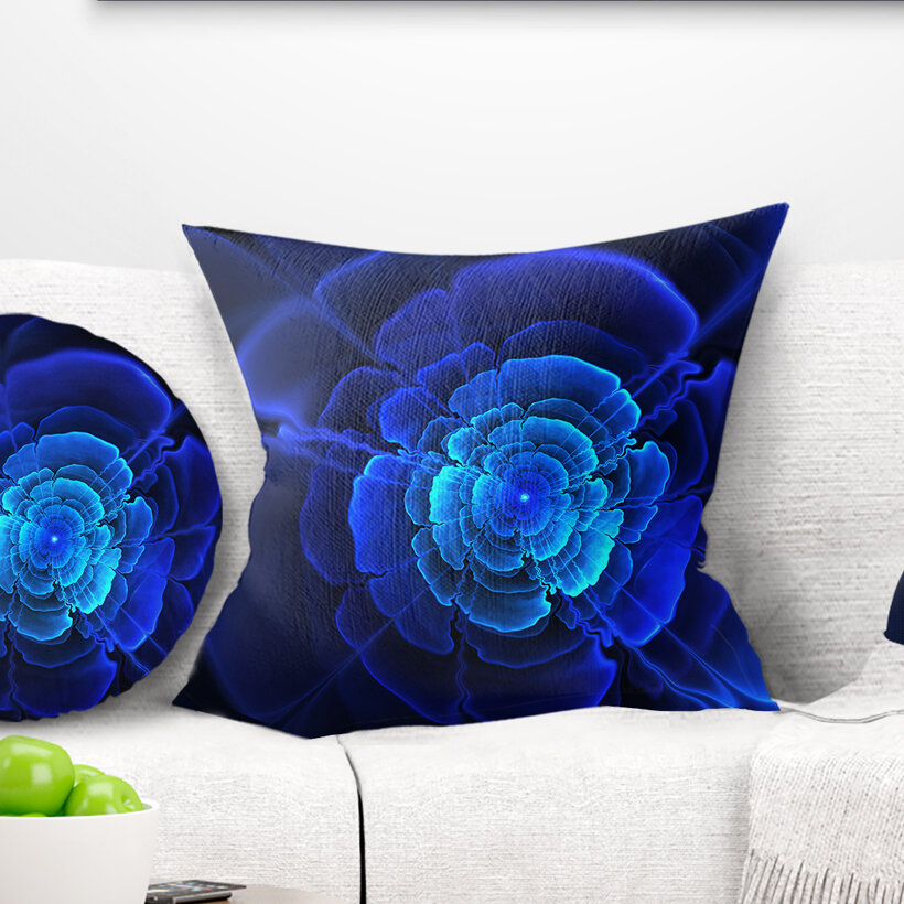 East Urban Home Floral Fractal Flower In Dark Throw Pillow Wayfair