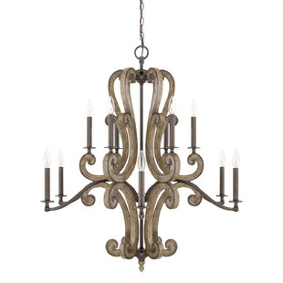 Fleur De Lis Living Basswood 12-Light Chandelier