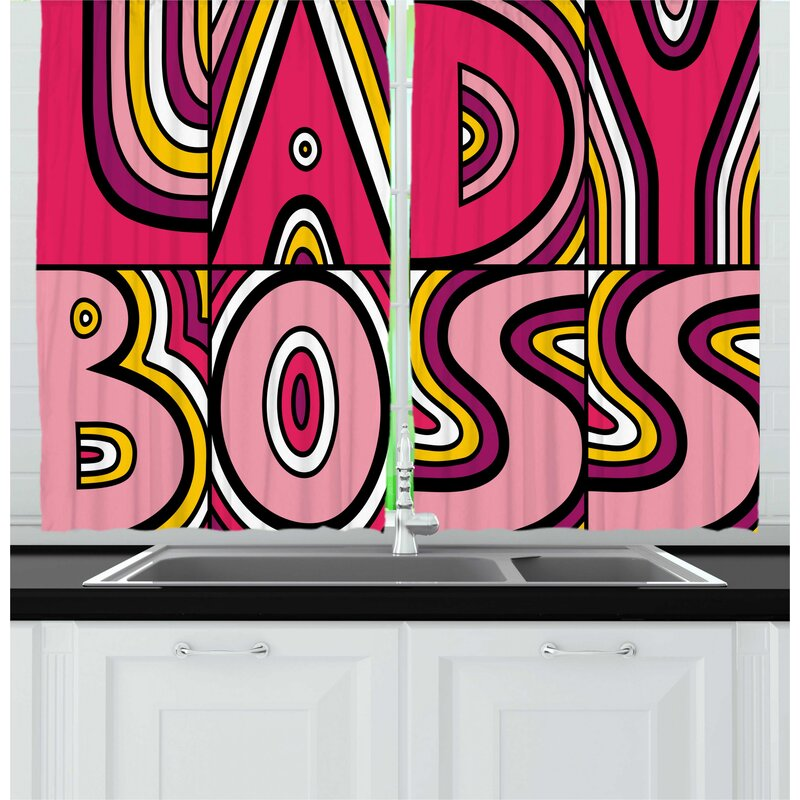 East Urban Home 2 Piece Lady Boss Feminist Art Themed Illustration with  Lettering and Rays in Creative Retro Style Kitchen Curtain Set padstyle