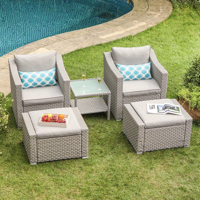 Bhandary 5-Piece Rattan Seating Group Outdoor with Cushions