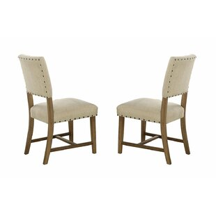 Gracie Oaks Elissa Wood and Fabric Upholstered Dining Chair (Set of 2)