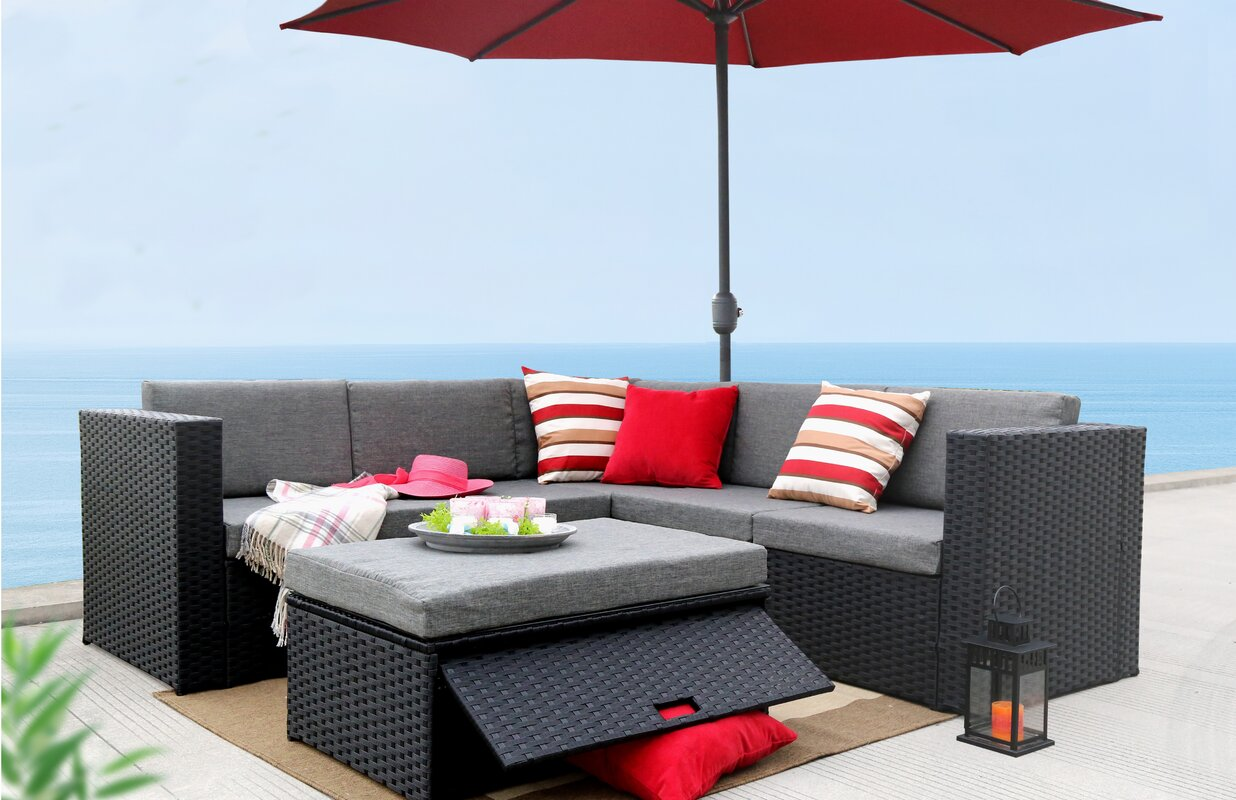 4 Piece Rattan Sectional Set with Cushions