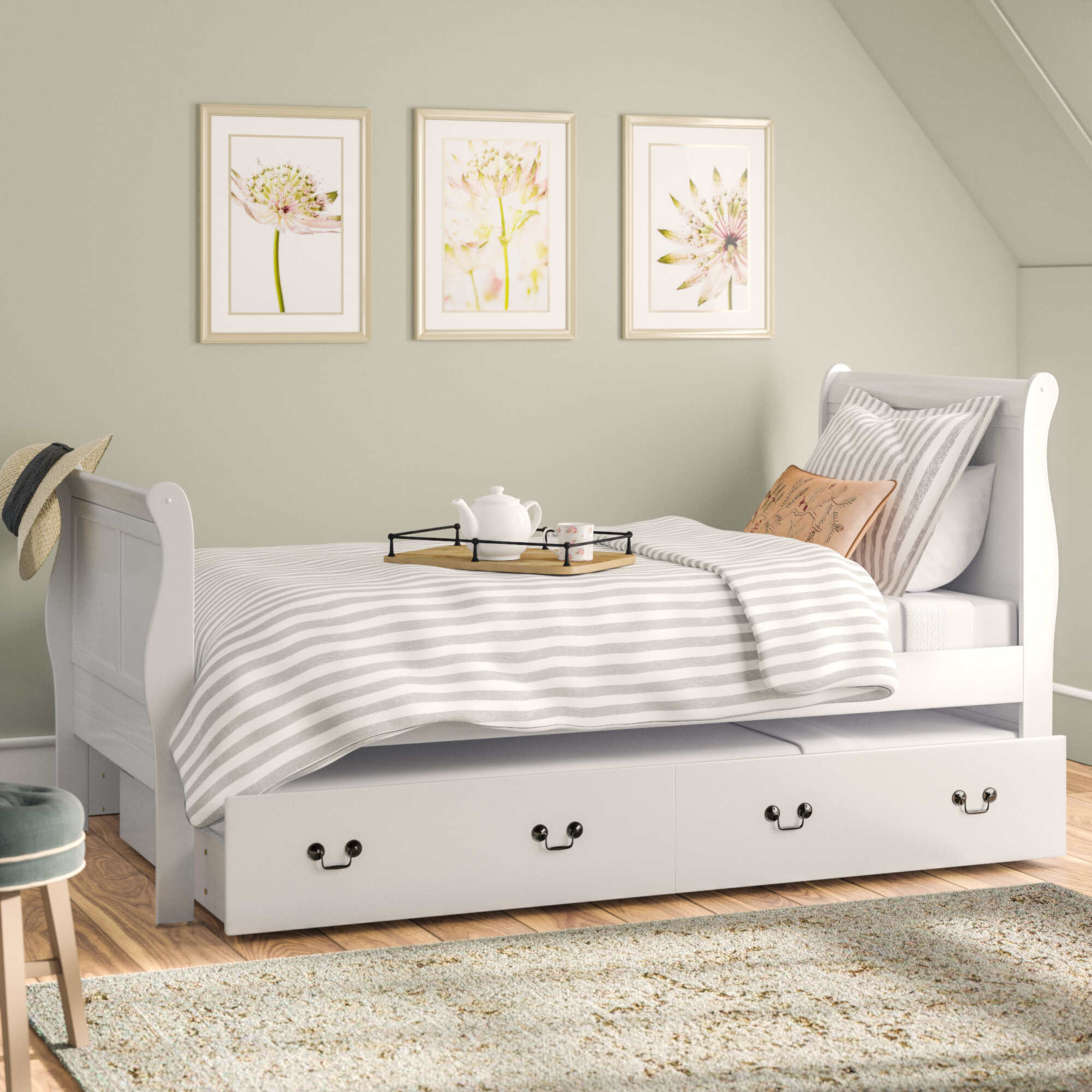 Lark Manor Babcock Sleigh Bed With Trundle Reviews Wayfair