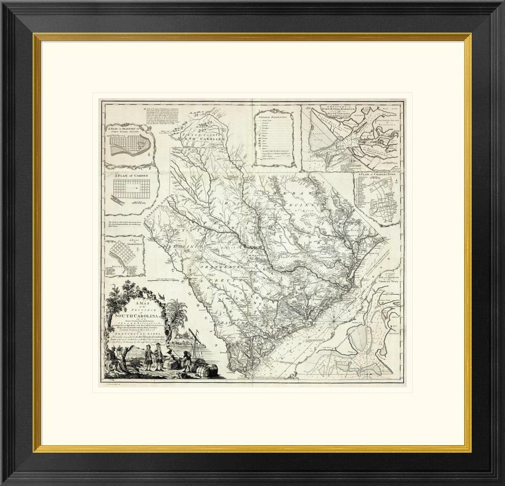 Global Gallery A Map Of The Province Of South Carolina 1773 By James Cook Framed Graphic Art Wayfair