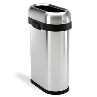 13 Gallon Slim Open Trash Can, Heavy-Gauge Brushed Stainless Steel