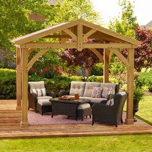 avery pavilion 10 ft w x 12 ft d wood permanent gazebo - Wayfair Hot Tub